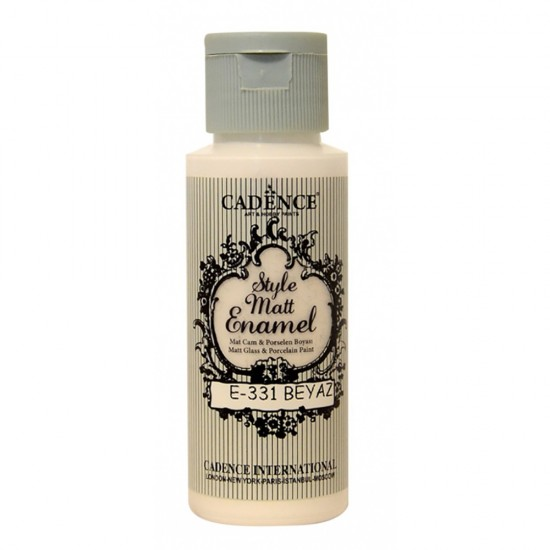 Cadence Style Mat Enamel Cam Boyası 331-Beyaz 59ml (Porselen - Se