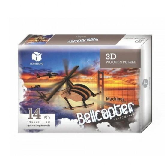 Ahşap Bell Helikopteri 3D Puzzle 14 Parça