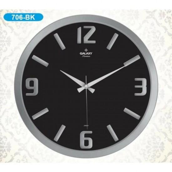 Duvar Saati Gümüş Siyah GLX706BK