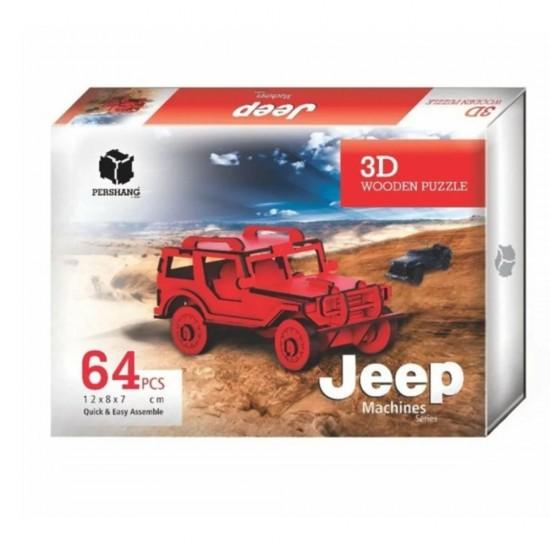 Jeep Araba 3D Puzzle 64 Pcs