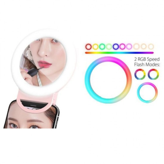 Pazariz Rgb Led Aynalı Selfie Işığı Ring Light Makyaj Aynası Gökkuşağı Renkli