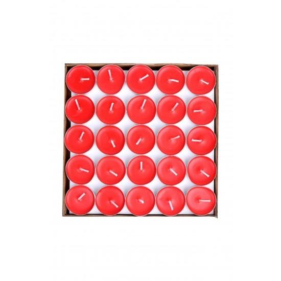 50 Adet Tealight Kırmızı Mum -  Uzun Süre Yanma Garantili Dekoratif Tea Light Mum