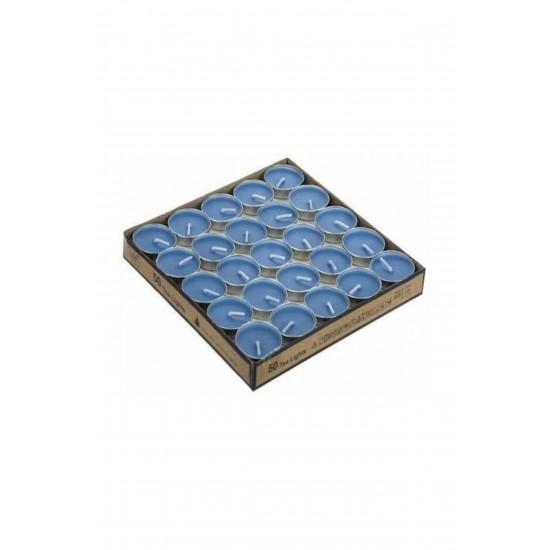 50 Adet Tealight Mavi Mum -  Uzun Süre Yanma Garantili Dekoratif Tea Light Mum