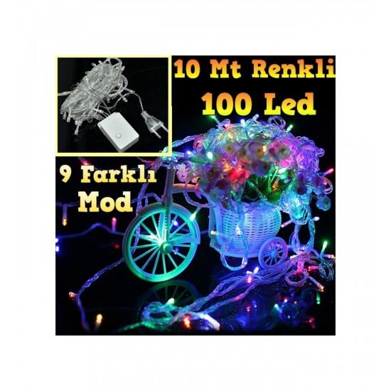 Pazariz 10 mt 100 LED Işık Renkli Noel Yılbaşı Agaç Süsleme Led Süs 9 FON