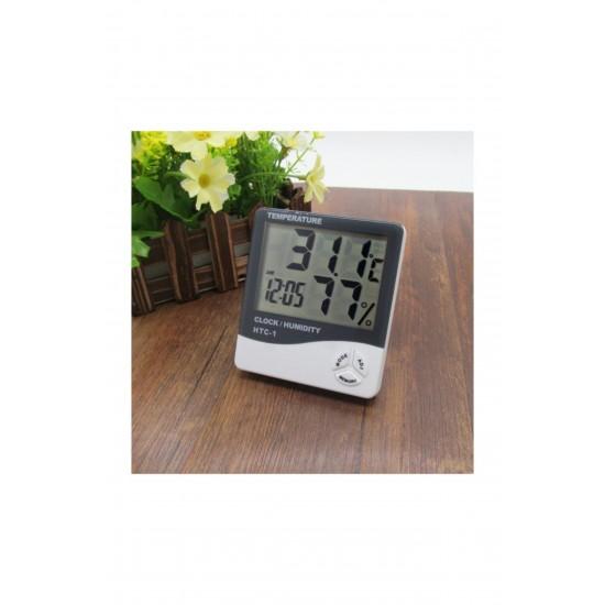 Pazariz Htc-1 Dijital Termometre Sıcaklık Ve Nem Ölçer Masa Saati Alarm