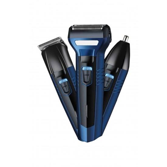 Pazariz 3 in 1 Profesyonel Saç Sakal Kesme Ense Burun Traş Tıraş Makinesi Seti - Siyah YP4A544A