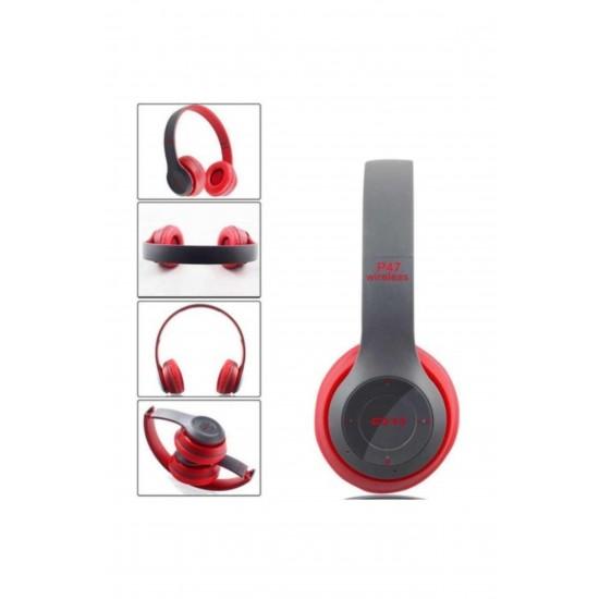 Pazariz Bluetooth Kulaklık Mp3 Fm Solo 2 Beats Model Kulak Üstü Kırmızı