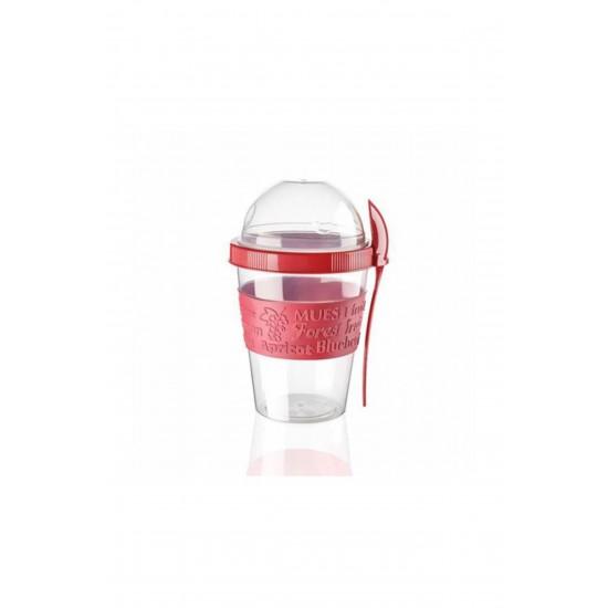 Pazariz Ap-9199 Kaşıklı Yoğurt Kabı Kırmızı