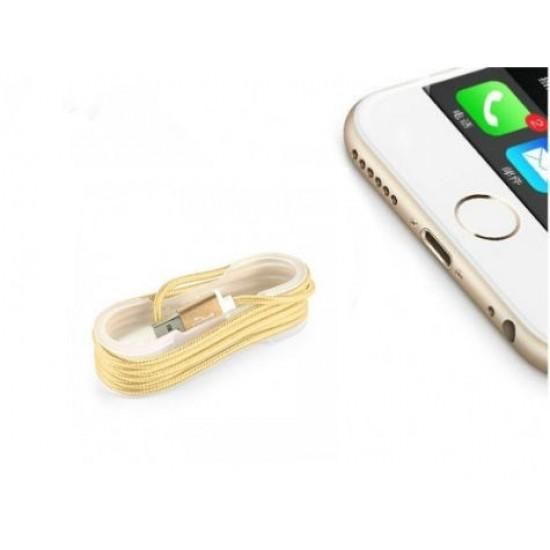 Pazariz ios Örgü Şeklinde Renkli Çelik Şarj Data Kablosu - Gold
