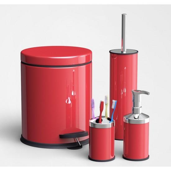 Alper Banyo Çöp Kovası - Klozet Fırçası - Diş Fırçalık - Sıvı Sabunluk Banyo Seti Kırmızı 3 lt