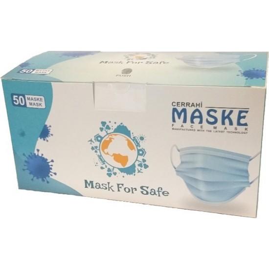Pazariz   Cerrahi Maske Filtreli 3Katlı Telli 50Adet Tüm İzinleri Olan Turkuaz