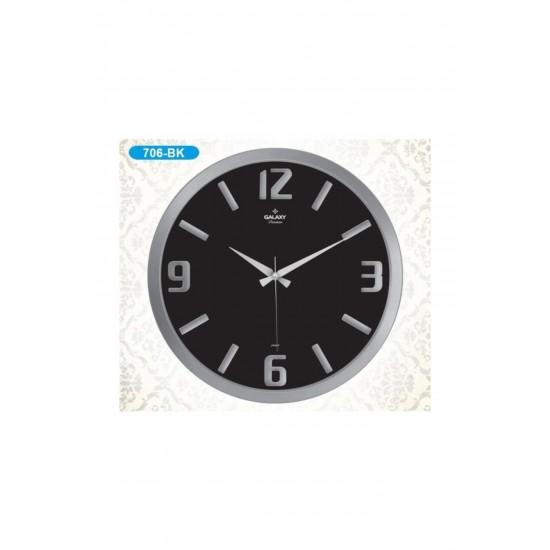 Pazariz  Duvar Saati Gümüş Siyah
