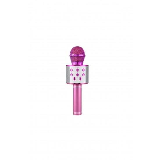 Pazariz  WS-858 Usb-Aux-SD Kart Girişli Wireless Bluetooth Karaoke Mikrofon - Pembe