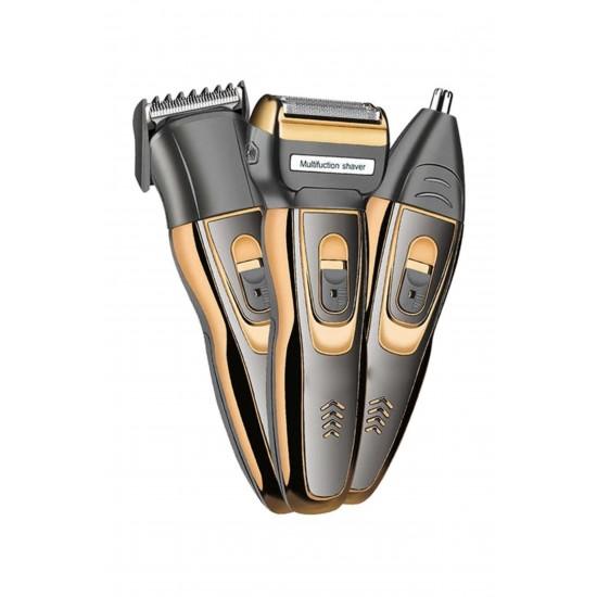 Pazariz 3 in 1 Profesyonel Saç Sakal Kesme Ense Burun Traş Tıraş Makinesi