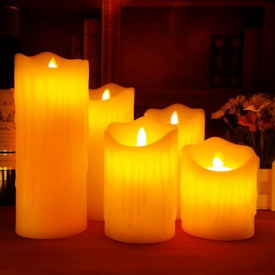 Pazariz 3 Adet Dekoratif Hareketli Pilli Led Mum | Yılbaşı Süs Led Işık