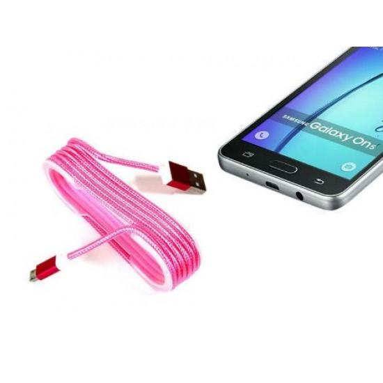 Pazariz Android Örgü Şeklinde Renkli Çelik Şarj Data Kablosu - Pembe