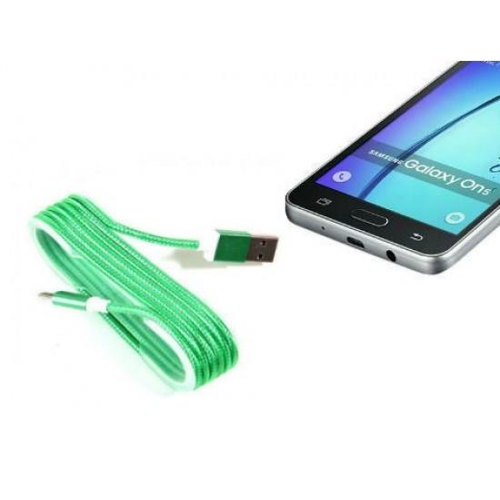 Pazariz Android Örgü Şeklinde Renkli Çelik Şarj Data Kablosu - Yeşi