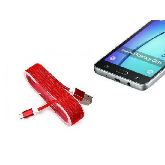Pazariz Android Örgü Şeklinde Renkli Çelik Şarj Data Kablosu - Kırm