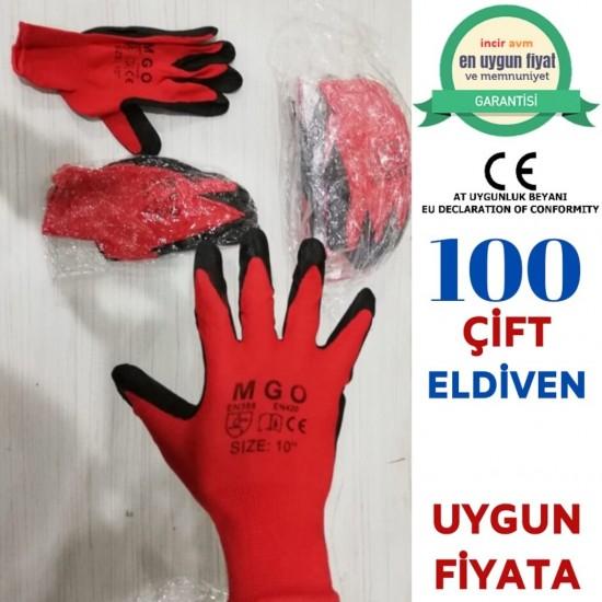 Pazariz  100 Çift Siyah Kırmızı İnşaat Eldiveni -Bahçe Eldiveni İş