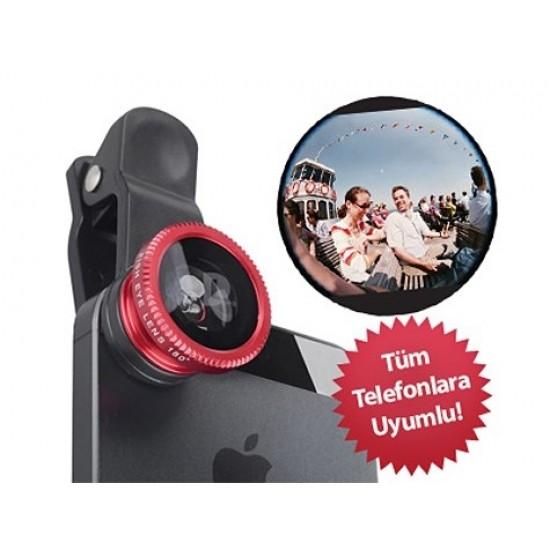 Pazariz Balık Gözü Cep Telefonu Lensi (Tüm Modellere Uyumlu)