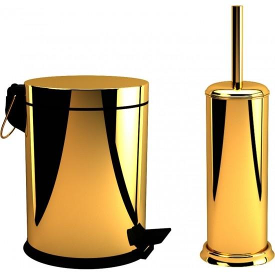 Defne Banyo 5 lt Çöp Kovası ve Klozet Fırçası Altın