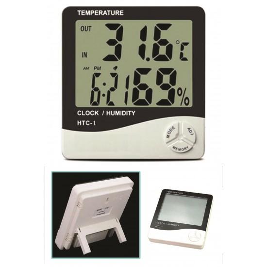 Pazariz Buffer Masaüstü Dijital Termometre Nem Ölçer Saat