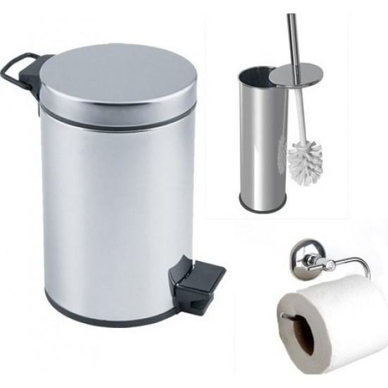 Arçe Banyo Çöp Kovası Seti Çöp Kovası Fırça Kağıtlık