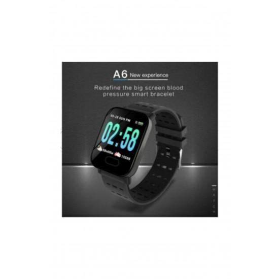 Pazariz A6 Smart Watch Akıllı Saat Suya Dayanıklı Nabız Ölçer