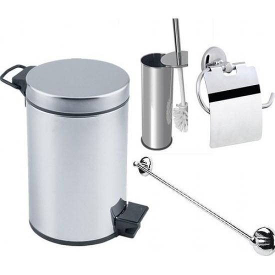Arçe Banyo 3 Lt Çöp Kovası Seti Çöp Kovası Fırça Kağıtlık Havluluk