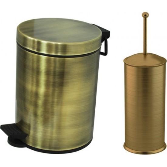 Cekinox Lpd Antik 5 lt Çöp Kovası + Klozet Fırçası Banyo Seti