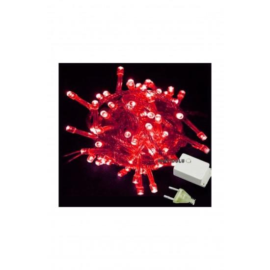Pazariz  Şeffaf Kablolu 100 Ampüllü Led Işık Kırmızı Renk 10 Metre