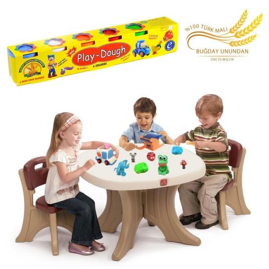 Pazariz 6 Renkli Buğday Unu Oyun Hamuru (Büyük Boy) - Play Dough