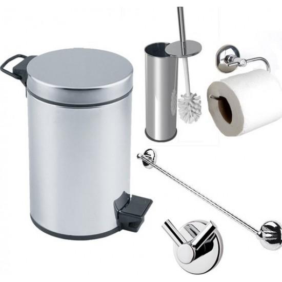 Aksesuaros Şık Banyo Çöp Kovası Seti Çöp Kovası Fırça Kağıtlık Havluluk Askılık