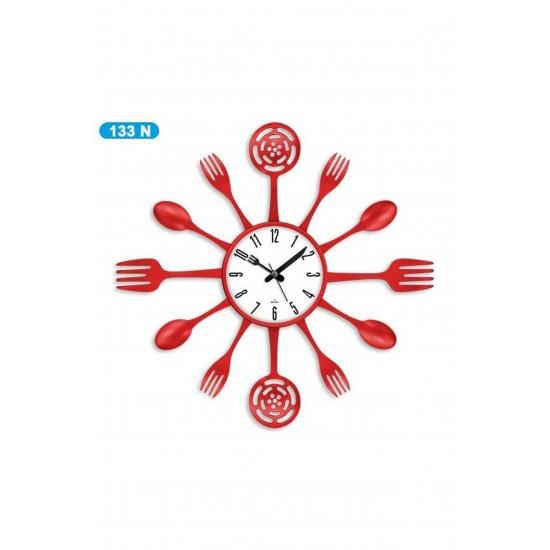 Pazariz Dekoratif Çatal Kaşık Duvar Saati Kırmızı