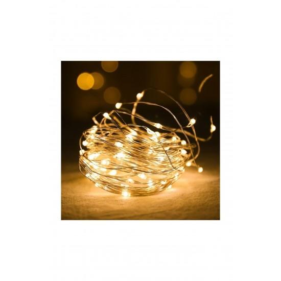 Pazariz  Peri Led Işık 28 Ledli 3 Metre Sarı Led Şerit Aydınlatma Pilli  Spot Le