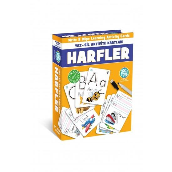 Pazariz Harfler Yaz,Sil Aktivite Kartları Çift Taraflı 32Kart Eğitim Seti