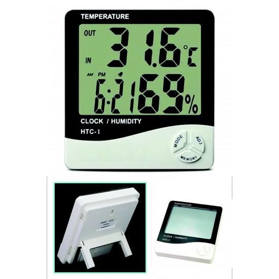 Pazariz  Masaüstü Dijital Termometre Nem Ölçer Saat