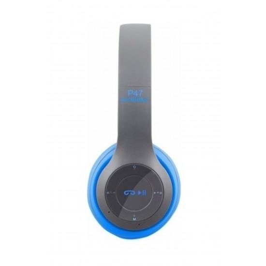 Pazariz  P47 Katlanalabilir 2.4+Edr Kablosuz Bluetooth Kulaklık Mavi
